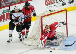 Capitals' goalie Branden Holtby blocks a shot in Washington