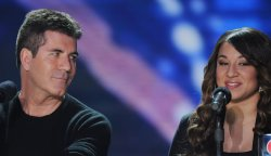 """""""The X Factor"""" judge Simon Cowell and top finalist Melanie Amaro attend """"The X Factor"""" news conference in Los Angeles"""