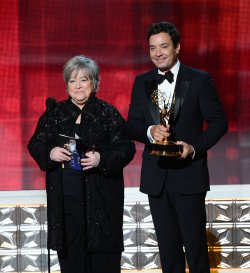 Kathy Bates and Jimmy Fallon attend the 64th Primetime Emmy Awards in Los Angeles