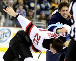Penguins Bortuzzo and Devils Carter Fight in Pittsburgh
