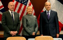 William Hague, Foreign Minister for the United Kingdom, U.S. Secretary of State Hillary Clinton and Alain Juppe, Minister of Foreign Affairs for France gather at Security Council meeting at the United Nations