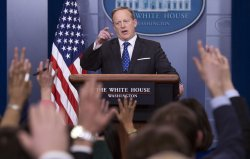 White House Press Secretary Sean Spicer holds the daily press briefing in Washington