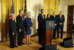 President Obama annouces Gov. Kathleen Sebelius as his HHS Secretary nominee in Washington