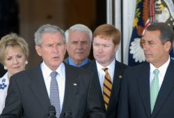 U.S. President Bush speaks with House Republican leaders at the White House in Washington