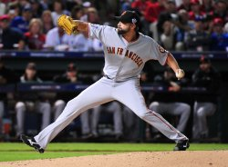 Giants' pitcher Jeremy Affeldt in game 3 of the World Series in Texas