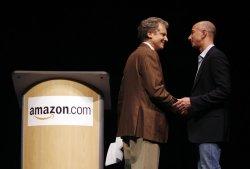 Amazon CEO Jeff Bezos presents the new Kindle DX