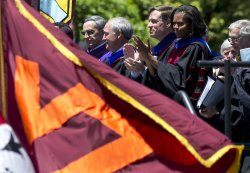 First Lady Michelle Obama delivers the Virginia Tech Commencement address in Blacksburgh, Virginia
