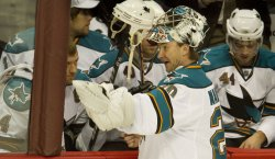 Sharks Goalie Nabokov Talks to Blake during Timeout in Game Six in Denver