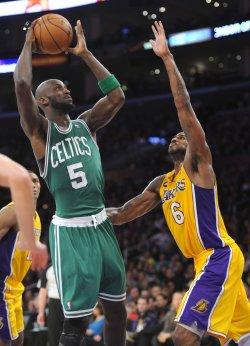 Los Angeles Lakers play Boston Celtics in Los Angeles