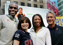 "Olympic legends take part in the ""Road to London"" celebration in Time Square in New York"