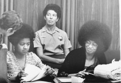 Angela Davis during pre-trial hearing
