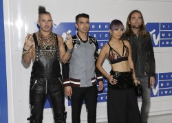 The band DNCE arrives at the 2016 MTV Video Music Awards