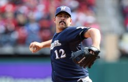 Milwaukee Brewers Carlos Villanueva pitches against the St. Louis Cardinals