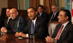 U.S. President Obama meets with Presidents of Afghanistan and Pakistan in Washington