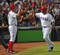 Rangers Adrian Beltre connects for a solo home run in game 5 of the World Series in Texas