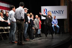 Republican Presidential Candidate Mitt Romney holds a rally in Rochester, New Hampshire
