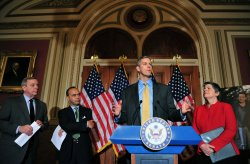 Education Secretary Arne Duncan and Senate Assistant Majority Leader Richard Durbin attend a press conference on the Dream Act in Washington