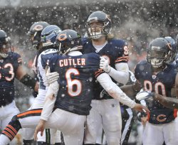 Bears Cutler, Olsen celebrate touchdown against Seahawks in Chicago