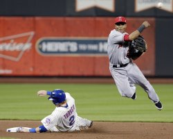 Los Angeles Angels Erick Aybar at Citi Field in New York