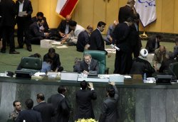 Members of parliment vote for Rouhani's new cabinet