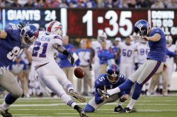 New York Giants Lawrence Tynes kicks a field goal at MetLife Stadium in New Jersey