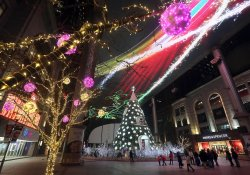 Chinese visit a mall decorated for Christmas in Beijing