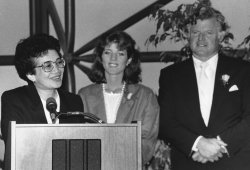 Corazon Aquino at John F. Kennedy Memorial Library reception
