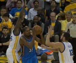 Oklahoma City Thunder's Kevin Durant goes to the basket