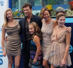 "Harry Connick Jr. and Jill Goodacre attend the ""Dolphin Tale"" premiere with their daughters in Los Angeles"
