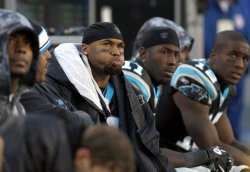Carolina Panthers wide receiver Steve Smith on the bench against the New Orleans Saints