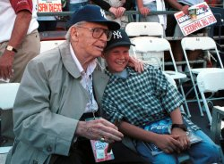 Milton Berle watches the World Series
