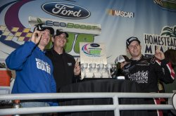 NASCAR driver, Regan Smith wins the Ford EcoBoost 300 at the Homestead-Miami Speedway in Homestead, Florida.