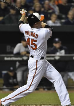 Orioles' Mark Trumbo hits a two run homer against the New York Yankees