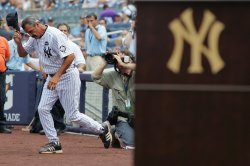 New York Yankees legend Ron Guidry is introduced at Yankees Stadium in New York