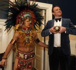 Actor Jason Segel poses at Harvard Hasty Pudding 2012 Man of the Year.