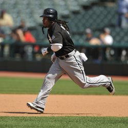 Manny Ramirez Of White Sox Runs to Second Base In The Seventh Inning