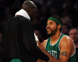 Celtic's Wallace laughs with teammate Kevin Garnet during NBA game in Los Angeles
