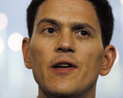 British Foreign Secretary David Miliband speaks at press conference in Washington