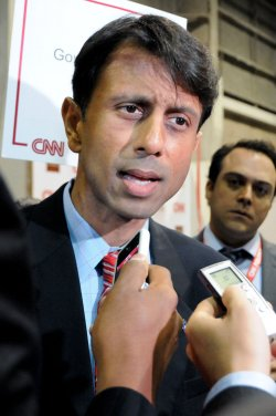 Governor Bobby Jindal attends the Republican Presidential Debate in Tampa