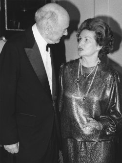 Dean Rusk and Lady Bird Johnson talk during a State Department dinner honoring Rusk