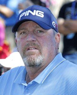 Mark Calcavecchia arrives at the Bob Hope Classic Golf Pro-Am in La Quinta