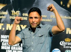 Oscar De La Hoya Waves To The Crowd In Las Vegas
