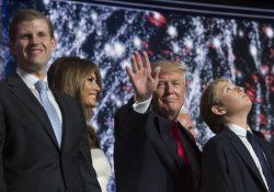 Donald Trump waves from stage at the GOP convention in Cleveland