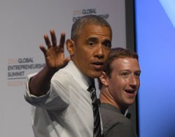 President Obama departs with Mark Zuckerberg at GES 2016