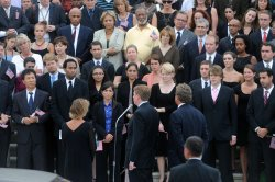 Funeral procession for Senator Edward Kennedy stops at U.S. Capitol building in Washington