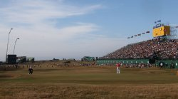Lee Westwood and Tiger Woods on the eighteenth green at the Open Championship
