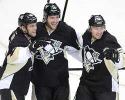 Penguins Tanner Glass Celebrates Goal in Pittsburgh
