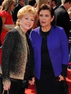 Debbie Reynolds and Carrie Fisher arrive at the Primetime Creative Arts Emmy Awards in Los Angeles