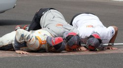 Dan Wheldon Celebrates Winning Indy 500