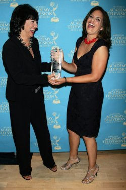 Soledad O'Brien and Christiane Amanpour arrive for the News and Documentary Emmy Awards in New York